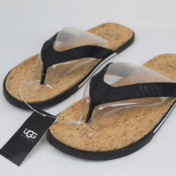 ff24eda2c5455 Men s 11 UGG Bennison II Black Leather Flip Flops